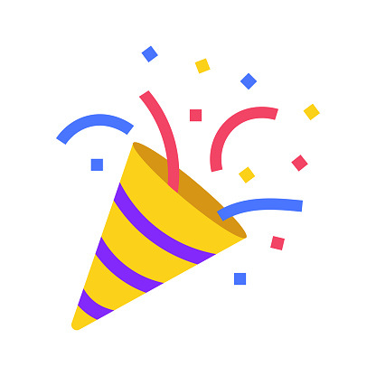 Icon emoji - Party, confetti in clubhouse social network. Happy Birthday cracker isolated vector icon. Vector illustration