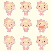 Cute style vector icons - Cute babies in various moods ( mad, crying, smiling, sleeping ).