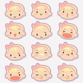Cute style vector icons - Baby Girl face in various moods ( Emoticons ).