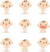 Vector illustration of Cute babies in various moods ( mad, crying, smiling, sleeping ).