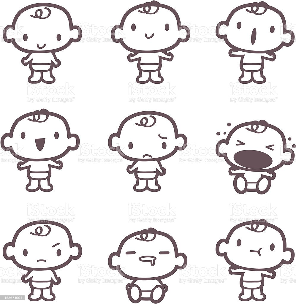 Icon, Emoticons - Cute Baby ( mad, crying, smiling, drool )