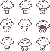 Cute style vector icons - Cute babies in various moods ( mad, crying, smiling, drool ).