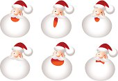 Icon, Emoticons - Santa Claus Face, Smiling, Singing, Angry, Sadness