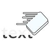Icon eraser erasing text. Vector illustration on white background.