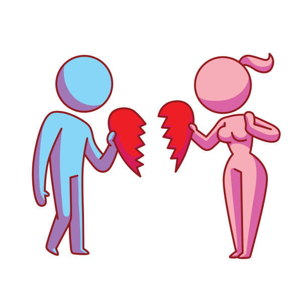 Icon, ex loving couple with a broken heart Vector cartoon image of an ex loving couple: pink woman and blue man standing with broken halves of the heart in the hands on a white background. Love, relationship, date. Vector icon. former stock illustrations