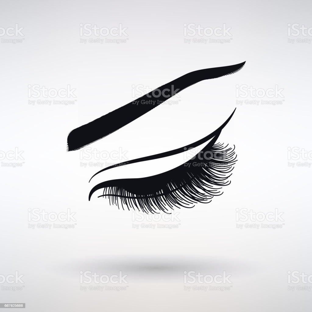 Symbol weiblicher lange Wimpern – Vektorgrafik