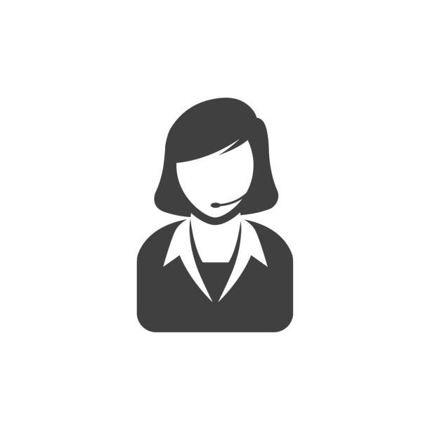bw のアイコン - 女性受付 - コールセンター点のイラスト素材/クリップアート素材/マンガ素材/アイコン素材