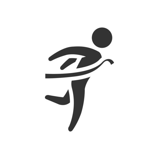 bw icon - finish line - finish line stock illustrations, clip art, cartoons, & icons