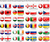 Set of Icon Flags of the 24 Participant Countries That Will Play in France on the 2016 European Cup. Icons are in Two Shapes - Circle and Rectangle With Rounded Corners. Vector Illustration.