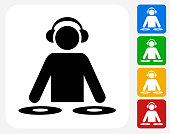 DJ Icon. This 100% royalty free vector illustration features the main icon pictured in black inside a white square. The alternative color options in blue, green, yellow and red are on the right of the icon and are arranged in a vertical column.