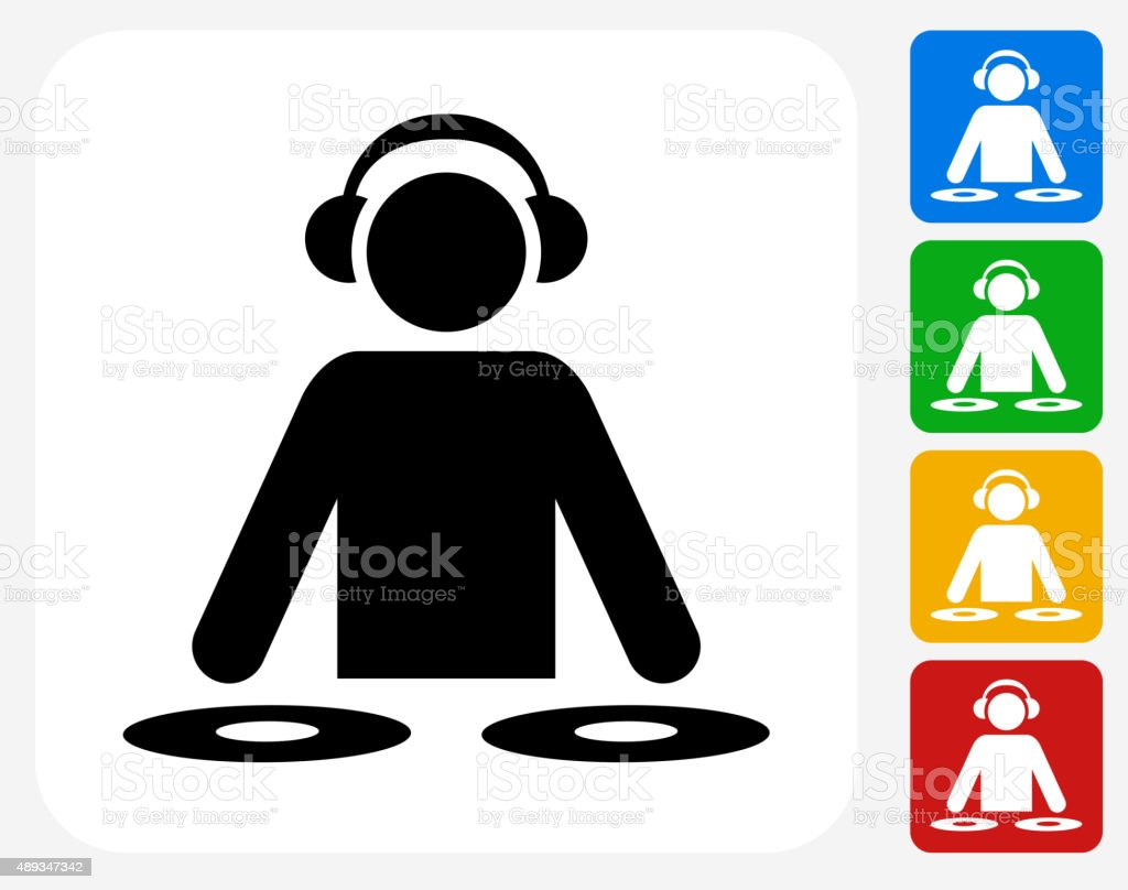 DJ Icon Flat Graphic Design vector art illustration