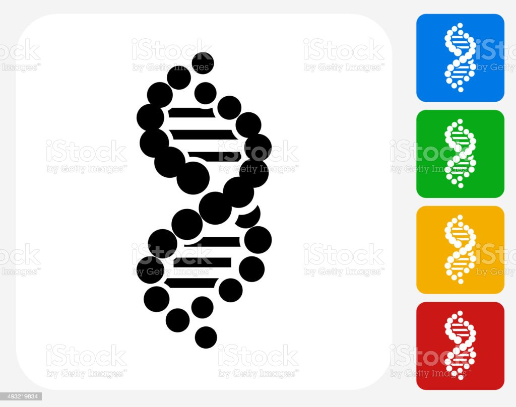 DNA Icon Flat Graphic Design vector art illustration