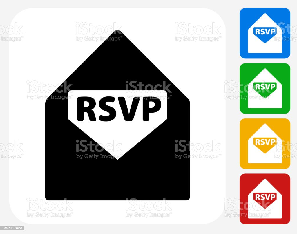RSVP Icon Flat Graphic Design vector art illustration