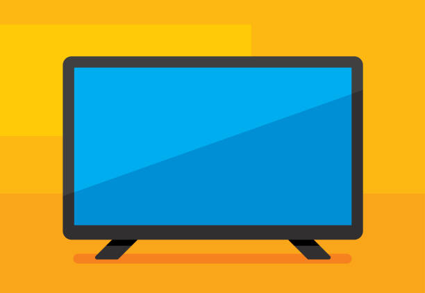 HDTV Icon Flat Vector illustration of a high definition television against a yellow background in flat style. television set stock illustrations