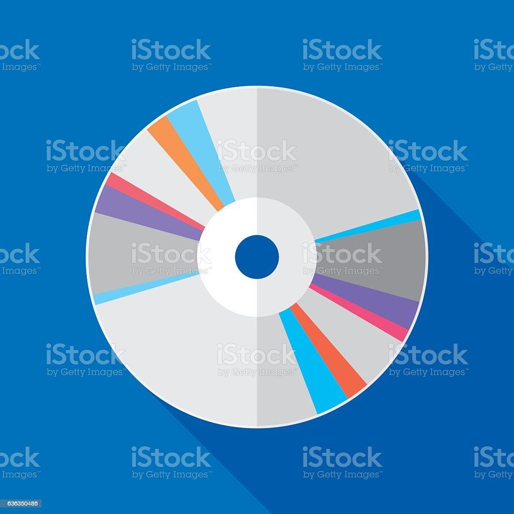 CD Icon Flat vector art illustration