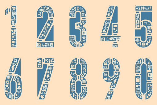 Icon fonts numeric vector format