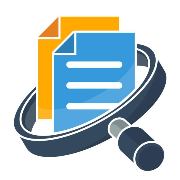 ilustraciones, imágenes clip art, dibujos animados e iconos de stock de icono de administración de empresas, documentos / gestión de archivos - logotipos de investigación