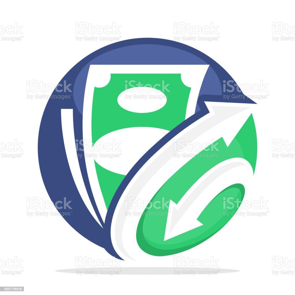 icono de negocios finanzas, auditoría, préstamo con combinación de letra inicial G en la conexión de la flecha - ilustración de arte vectorial