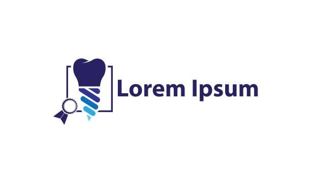 ilustraciones, imágenes clip art, dibujos animados e iconos de stock de icono para implantólogos de dentista y dentistas - logos de dentista