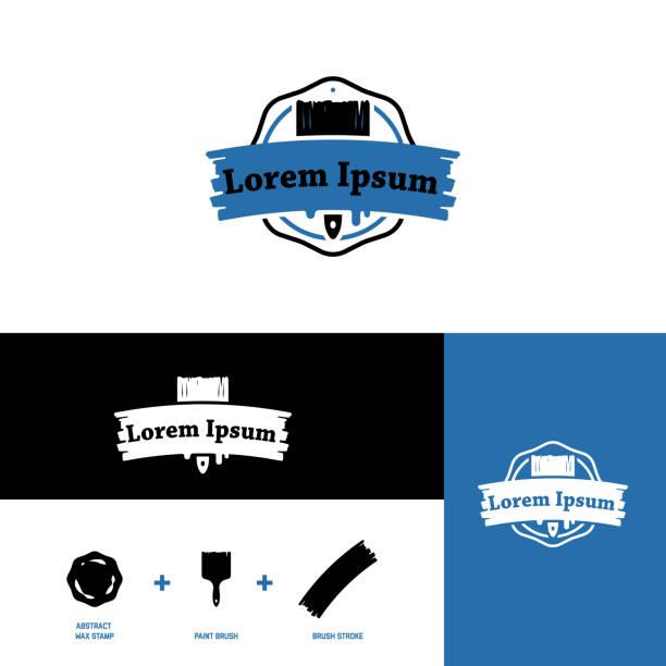 illustrations, cliparts, dessins animés et icônes de icône pour les fabricants de peinture, les charpentiers et l'industrie du bois, brosse stylisée - logo peintre en batiment