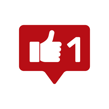 Icon for social networks. Thumbs up, vote counter.