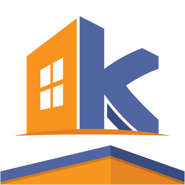 Icon  for the construction business with the initials of the letter K, design & color in flat design style. Icon  for the construction business with the initials of the letter K, design & color in flat design style. k logo illustrations stock illustrations
