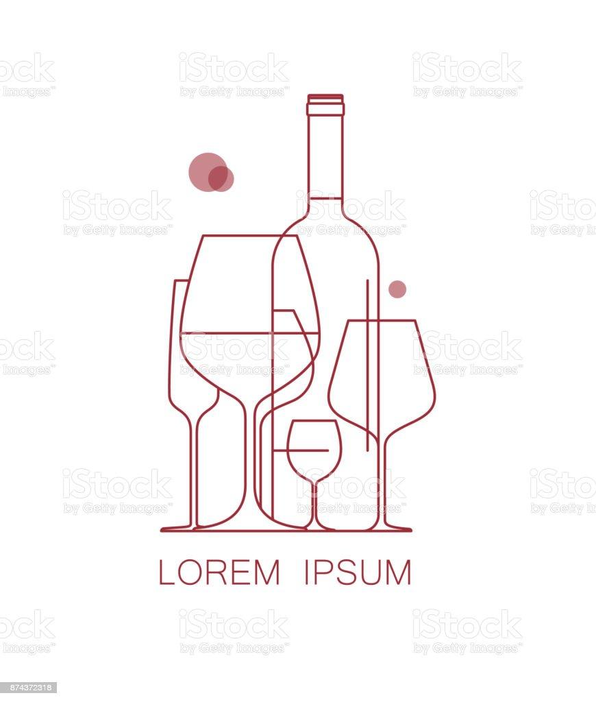 Icône de la carte des vins, dégustation, menu de restaurant. Un ensemble de verres à vin et une bouteille de vin. Modern style linéaire. Illustration vectorielle. - Illustration vectorielle