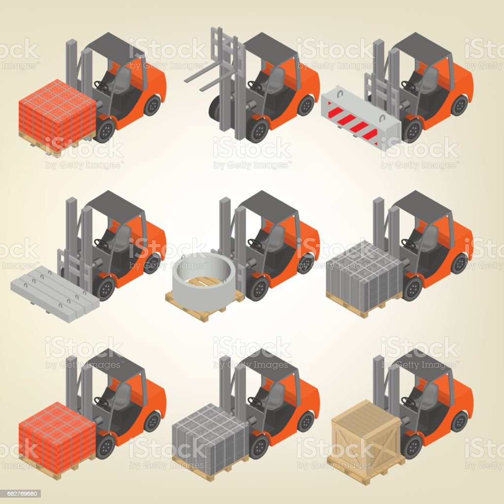 Icon forklift with cargo isometric, vector illustration. vector art illustration