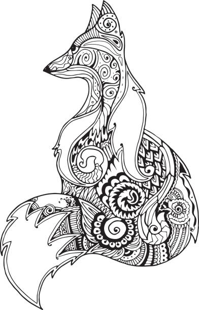 Best Black And White Fox Illustrations, Royalty-Free ...