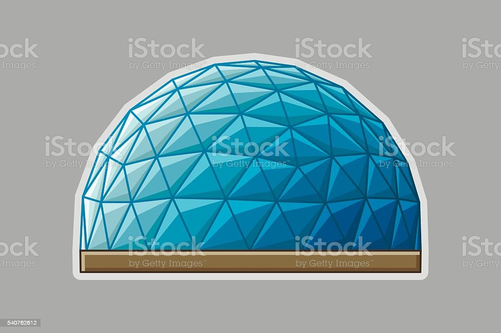 Icon geodesic dome flat vector art illustration