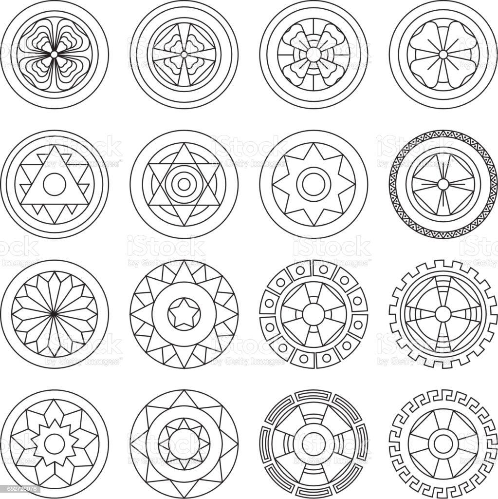 Mandalas Geométricos Icono Colorear Ideal Para Comunicación Visual ...