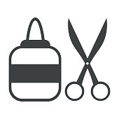Icon glue and scissors. Simple vector illustration with ability to change.