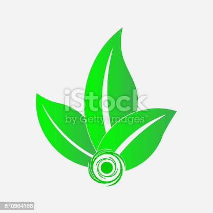 istock icon green leaves emblema ecology, save the planet 870964166