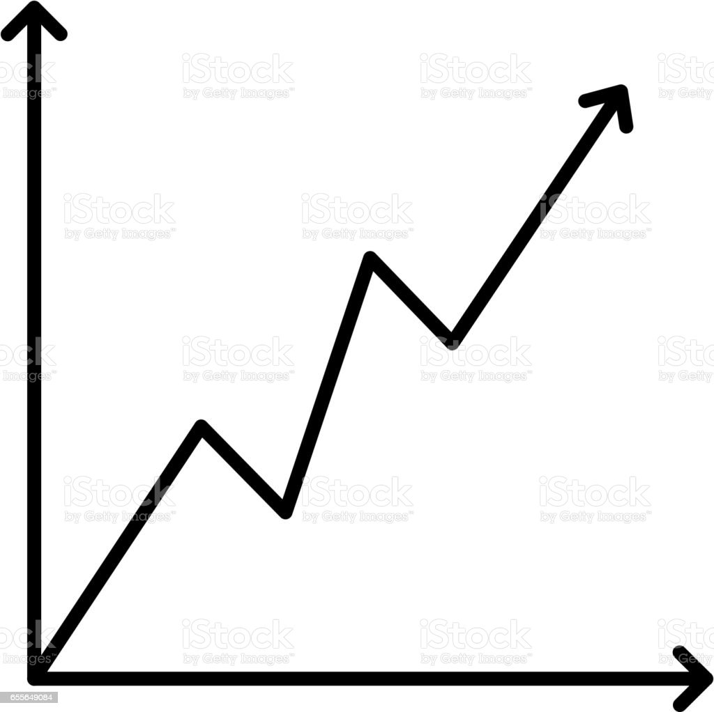 icon growing graph black contour on a white background of vector