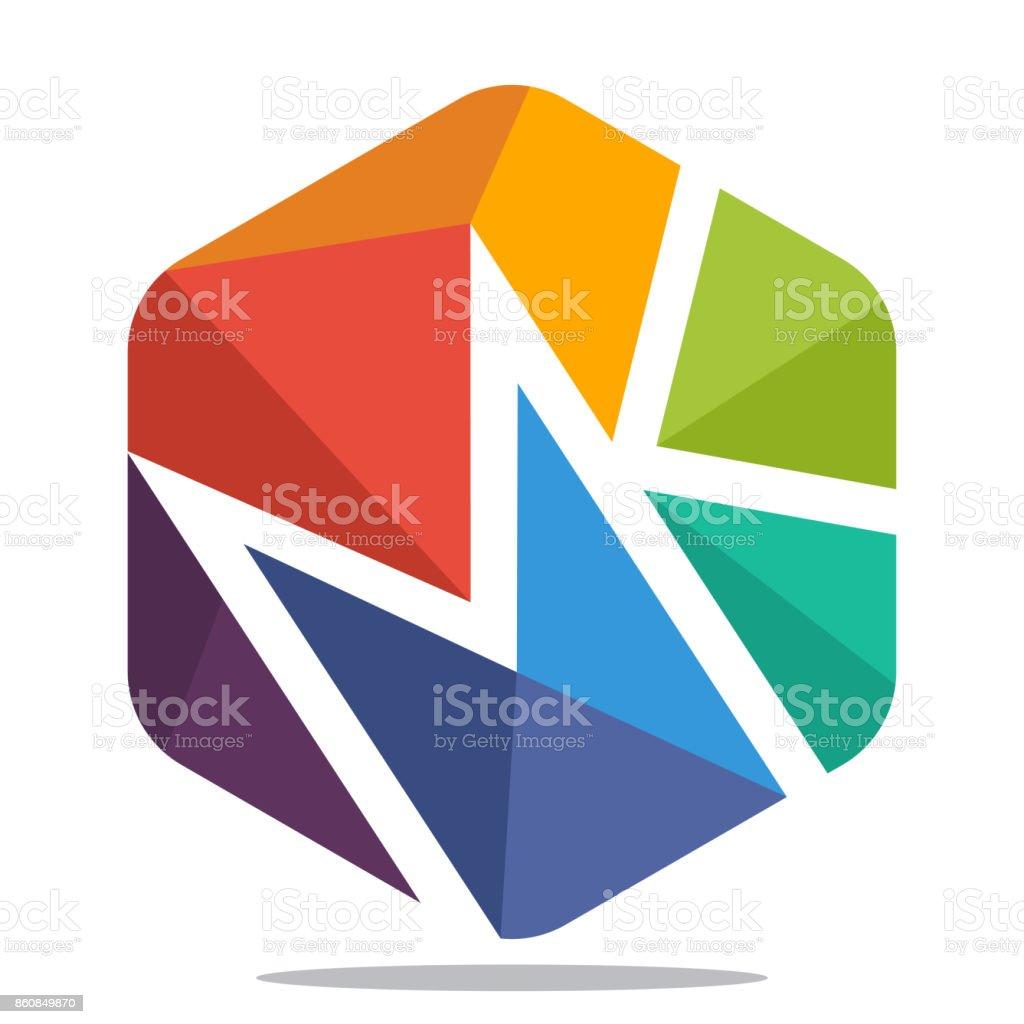 AuBergewohnlich Symbol Sechseck Form Mit Mosaik Stil, Mit Kombination Der Initialen  Buchstaben M