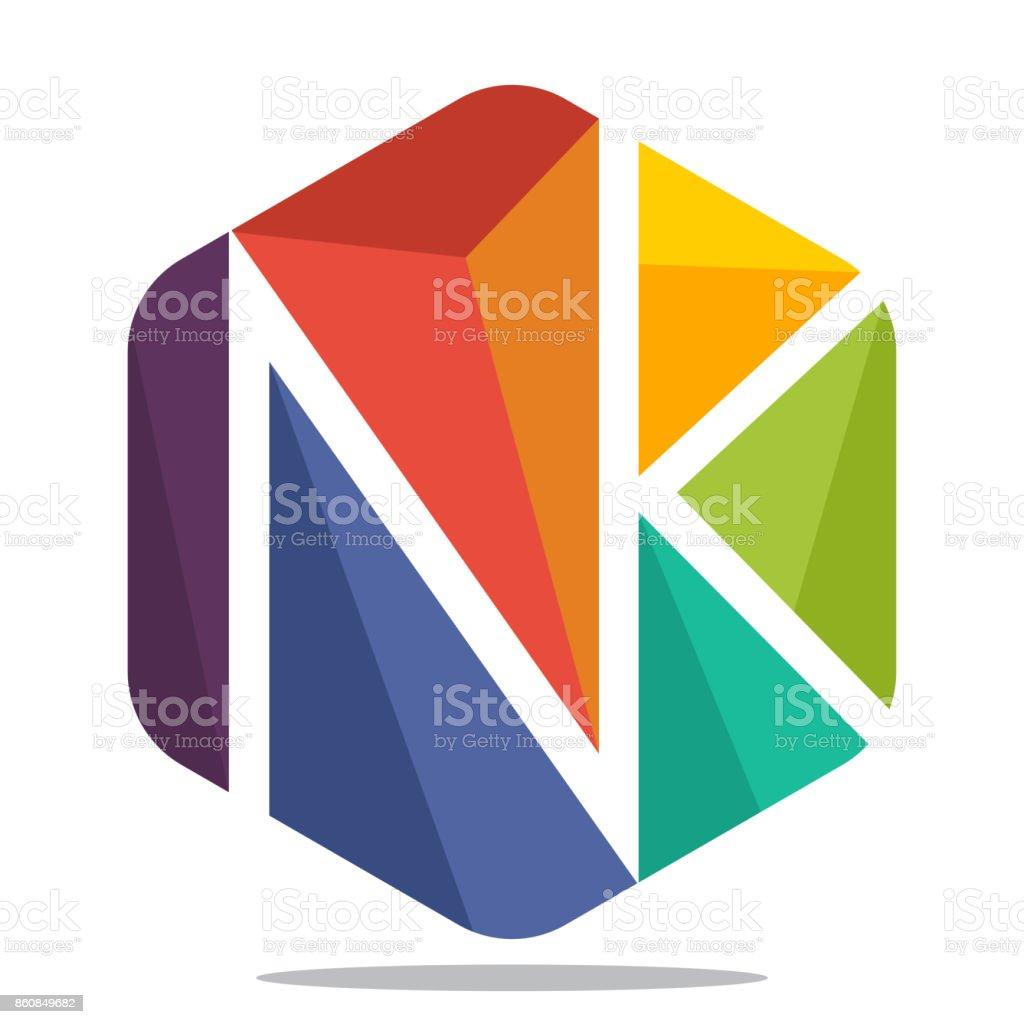 Charmant Symbol Sechseck Form Mit Mosaik Stil, Mit Kombination Der Initialen  Buchstaben N