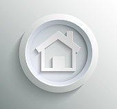 App icon metal home with shadow on technology circle and grey background