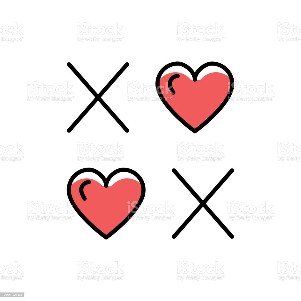 Xoxo Icon Hugs And Kisses Line Art Lettering And Hearts On A White