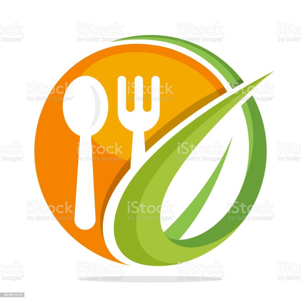 icône pour restaurant d'aliments biologiques - Illustration vectorielle