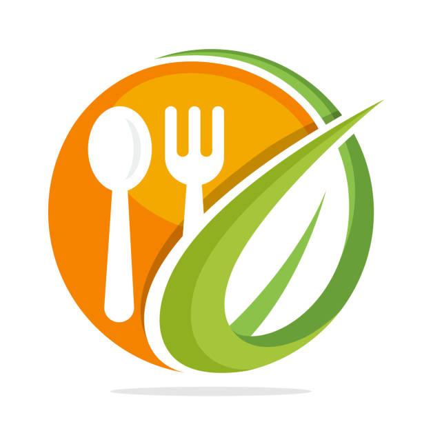 symbol symbol für bio-food-restaurant - nahrungsmittelindustrie stock-grafiken, -clipart, -cartoons und -symbole