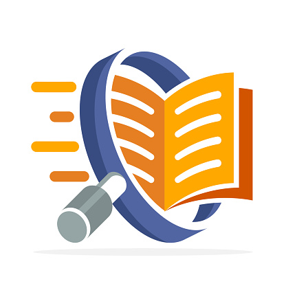 icon icon with search concept, reading, reviewing book. Illustrated with a magnifying glass and open book.
