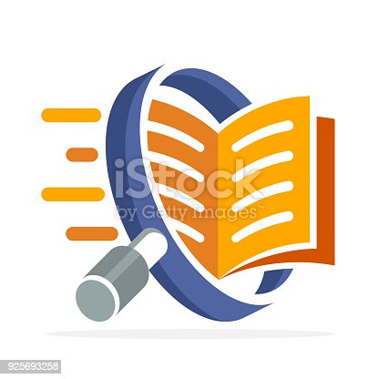 istock icon icon with search concept, reading, reviewing book. Illustrated with a magnifying glass and open book. 925693258