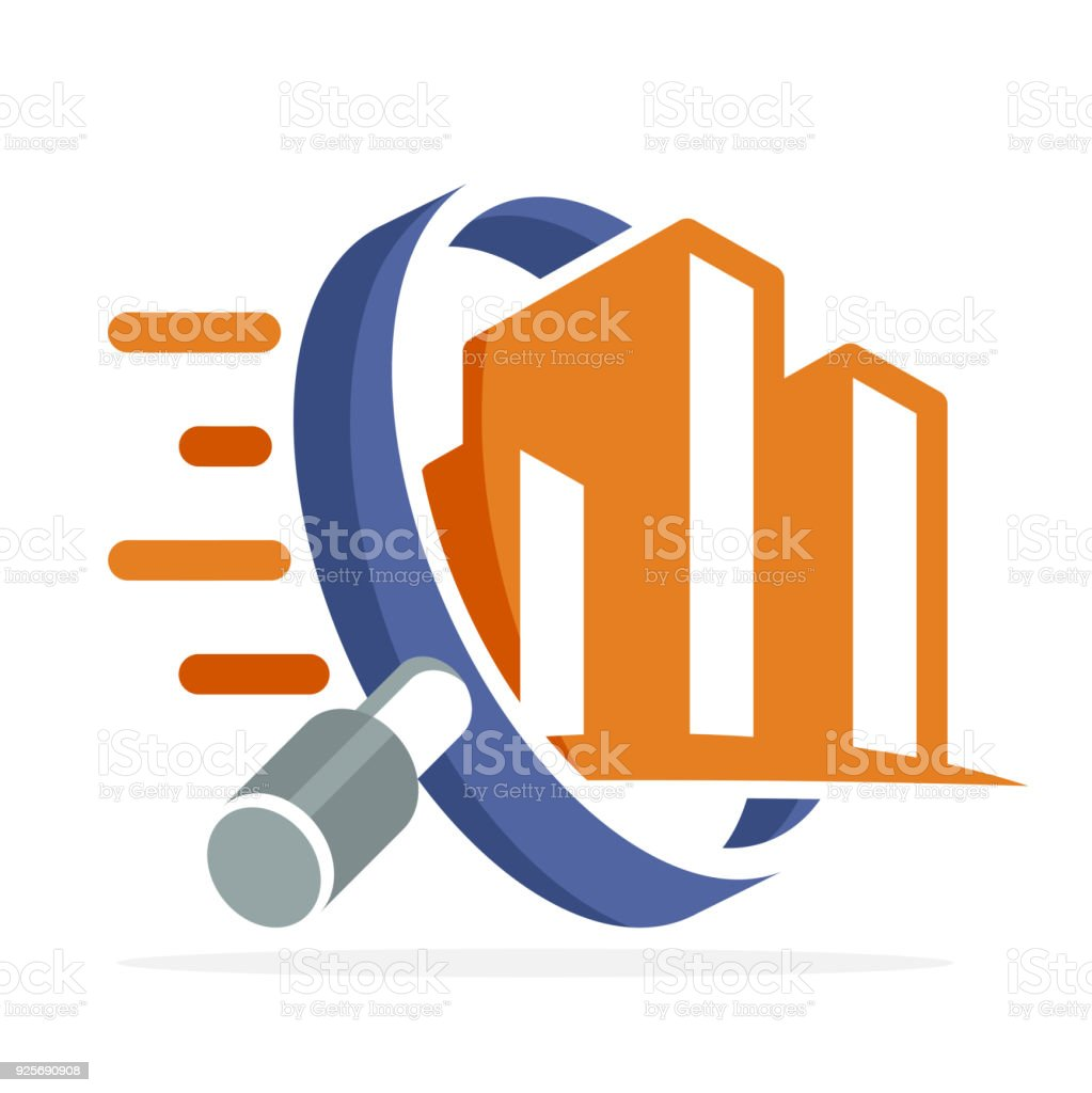 icon icon with search, review, inspection concept, for real estate business, building inspector, illustrated with magnifying glass and building vector art illustration