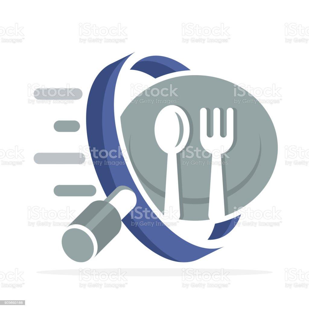 icône avec le concept de trouver de la nourriture et manger lieu - Illustration vectorielle