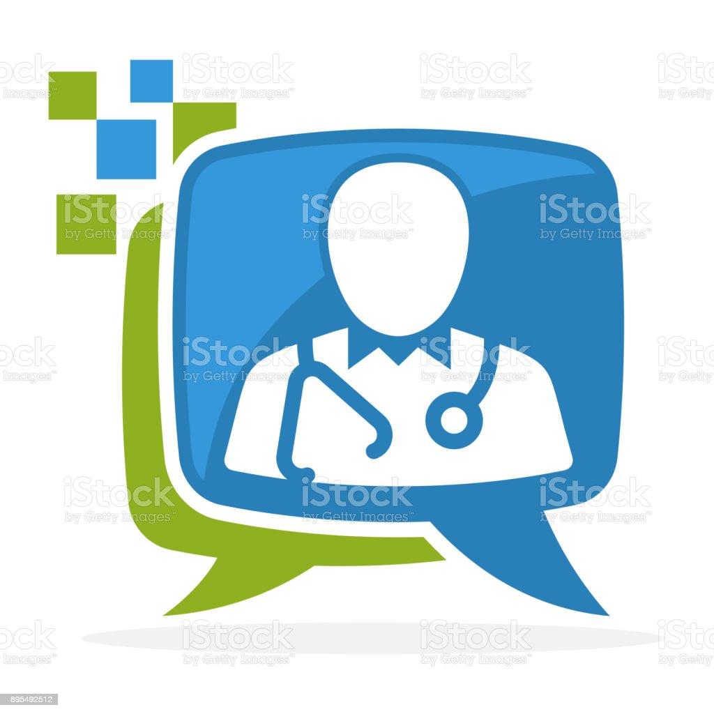 icône avec le concept de consultation des médias avec le médecin - Illustration vectorielle