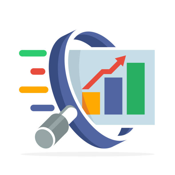 icon icon with the concept of searching, analyzing, for business finance and marketing. Illustrated with magnifying glass, bar chart, and arrow graph increases. icon icon with the concept of searching, analyzing, for business finance and marketing. Illustrated with magnifying glass, bar chart, and arrow graph increases. scrutiny stock illustrations