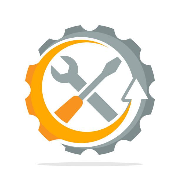 illustrazioni stock, clip art, cartoni animati e icone di tendenza di icon icons with improved process concept for maintenance, repair, setting, service - mechanic