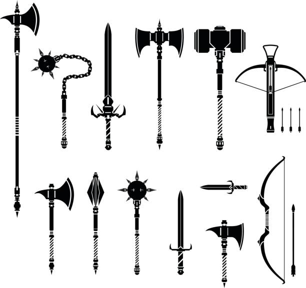 Icon illustration vector set of arcane medieval weapons. Old Ancient silhouette weapon icon set - Ancient weapons from the dark ages arcane stock illustrations