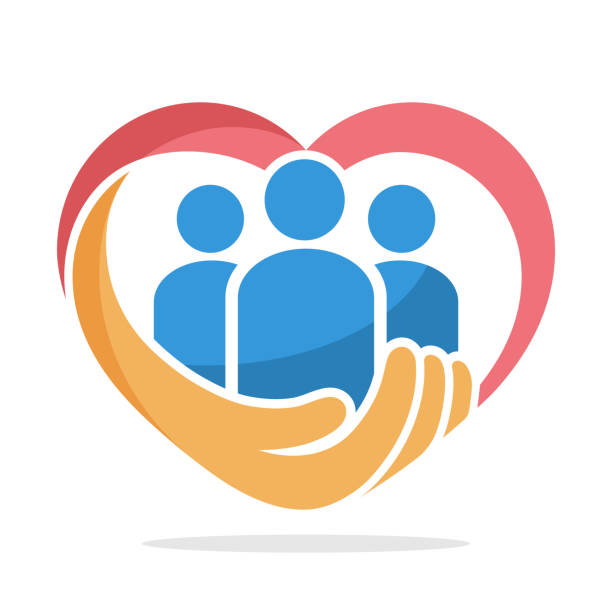 icon illustration with the concept of family care, care about humanity - group of people stock illustrations