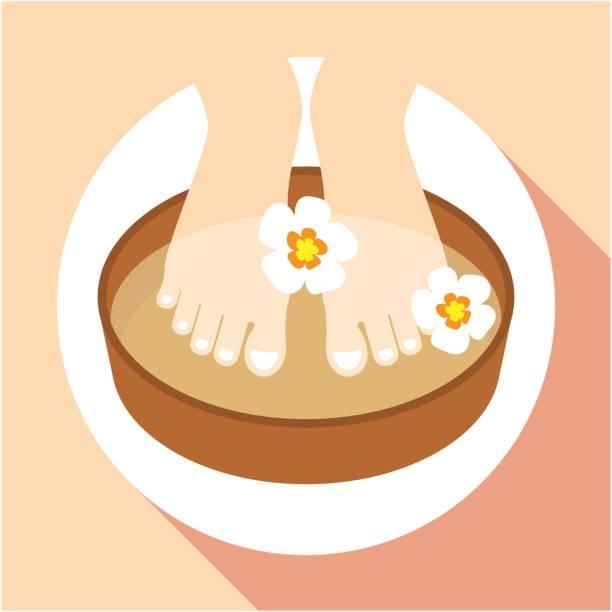 symbol-illustrationen für fußbad - fußpflegeprodukte stock-grafiken, -clipart, -cartoons und -symbole